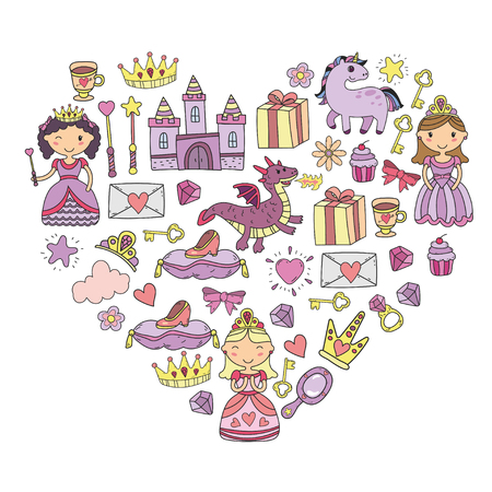 Set of doodle princess and fantasy icon and and design element for invitation and greeting card. Kids drawing, preschool, school pattern in heart shape