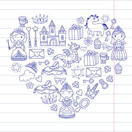 Set of doodle princess and fantasy icon and and design element for invitation and greeting card. Kids drawing, preschool, school pattern in a heart shape