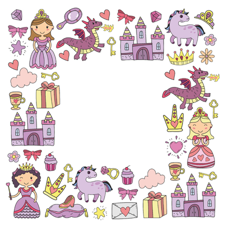 Set of doodle princess and fantasy icon and and design element for invitation and greeting card. Kids drawing. Kindergarten, preschool, school patterns Ilustração