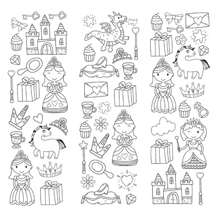 Set of doodle princess and fantasy icon and and design element for invitation and greeting card. Kids drawing. preschool, school patterns Illustration