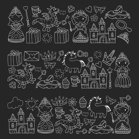낙서 공주 및 판타지 아이콘 및 및 초대장 및 인사말 카드 디자인 요소 집합. 드로잉하는 아이들. 유치원, 학교 패턴