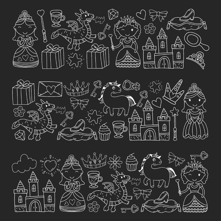 Satz der Gekritzelprinzessin und der Fantasieikone und und des Gestaltungselements für Einladungs- und Grußkarte. Kinder zeichnen. Vorschule, Schulmuster Standard-Bild - 90937893