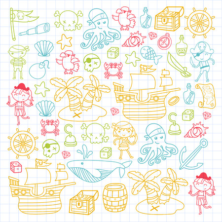 Children playing pirates Boys and girls in school, preschool,or hallowen party Treasure island, pirate ship, crab, parrot Adventure and travel and fun Illustration