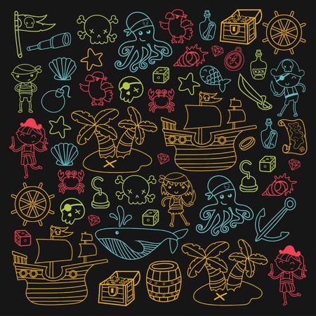 Enfants jouant aux pirates Garçons et filles à l'école, à l'école maternelle, à la fête hallowen, une île au trésor, un bateau de pirates, un crabe, un perroquet Aventure et voyages et amusement Banque d'images - 91621717