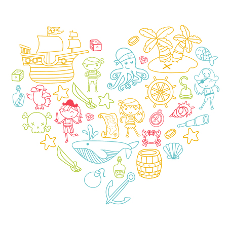 Heart shape Children playing pirates Boys and girls in school, preschool, halloween party Treasure island, pirate ship, crab, parrot Adventure and travel and fun Illustration