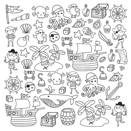 Children playing pirates Boys and girls in school, preschool, halloween party Treasure island, pirate ship, crab, parrot Adventure and travel and fun Birthday invitation Illustration