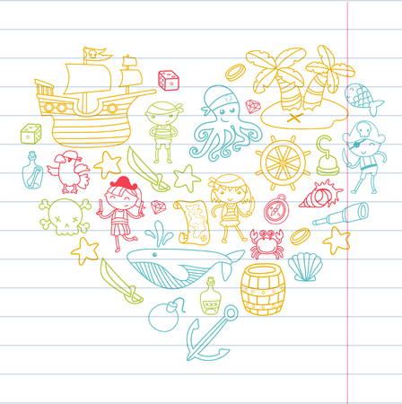 Preschool kids in a Halloween party with Treasure island, pirate ship, crab, parrot Adventure and travel and fun background in heart shaped