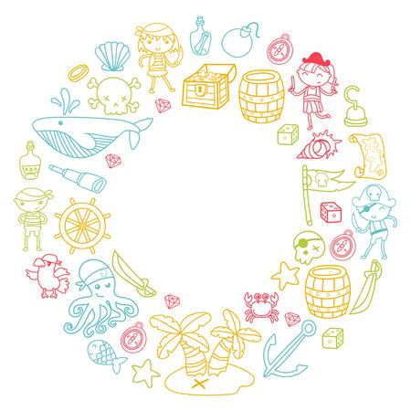 Preschool kinderen in een Halloween-feest met Treasure Island, piratenschip, krab, papegaai Avontuur en reizen en leuke krans patroon op witte achtergrond Stock Illustratie