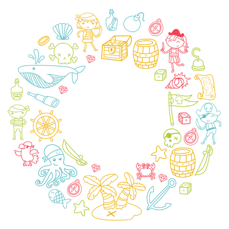 Preschool kids in a Halloween party with Treasure island, pirate ship, crab, parrot Adventure and travel and fun wreath pattern on white background
