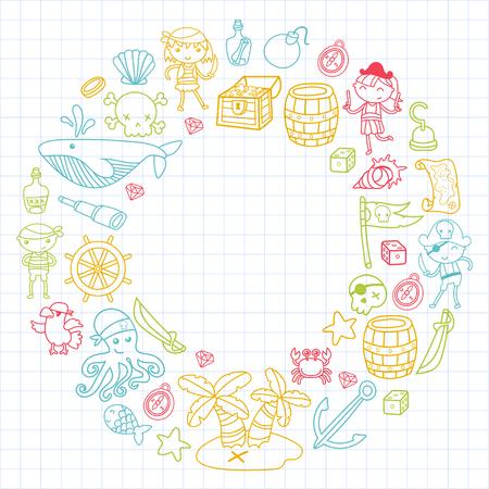 Enfants d'âge préscolaire dans une fête d'Halloween avec l'île au Trésor, bateau pirate, crabe, perroquet Jeux d'aventure et de voyage et la Couronne fun sur fond blanc Banque d'images - 91664178