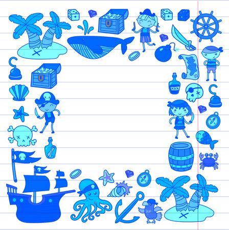 Ensemble de doodle princesse et fantaisie icône et élément de conception pour invitation et carte de voeux. Modèle de bordure de dessin pour enfants d'âge préscolaire Banque d'images - 91664333