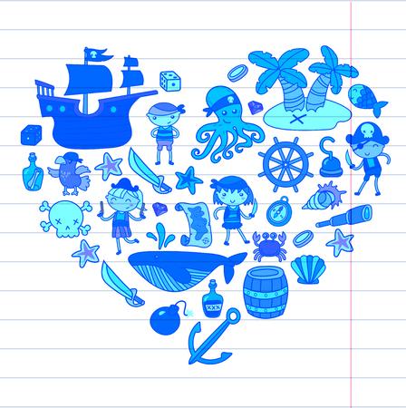 Kleuters op hun Halloween-feest Schateiland, piratenschip, krab, papegaai Avontuur en reizen en plezier voor verjaardagsuitnodiging
