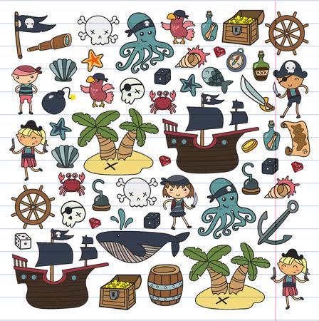 Children playing pirates Boys and girls  school, preschool, halloween party Treasure island, pirate ship, crab, parrot Adventure and travel and fun Birthday invitation