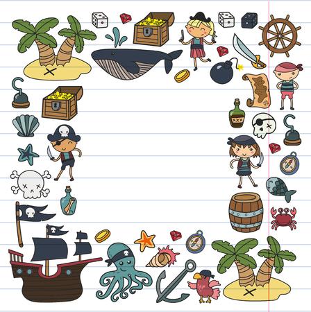 Kinderen spelen piraten Jongens en meisjes school, voorschoolse, halloween party Schateiland, piratenschip, krab, papegaai Avontuur en reizen en plezier Verjaardag uitnodiging