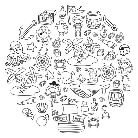 어린이 놀이 해적 소년과 소녀 학교, 유치원, 할로윈 파티 보물 섬, 해적선, 게, 앵무새 모험과 여행과 재미 생일 초대장