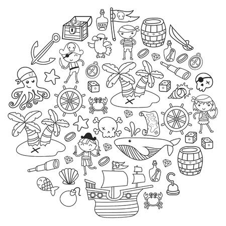 Crianças jogando piratas Escola de meninos e meninas, pré-escola, festa de bruxas Ilha do tesouro, navio pirata, caranguejo, papagaio Aventura e viagens e diversão Convite de aniversário Foto de archivo - 91623153