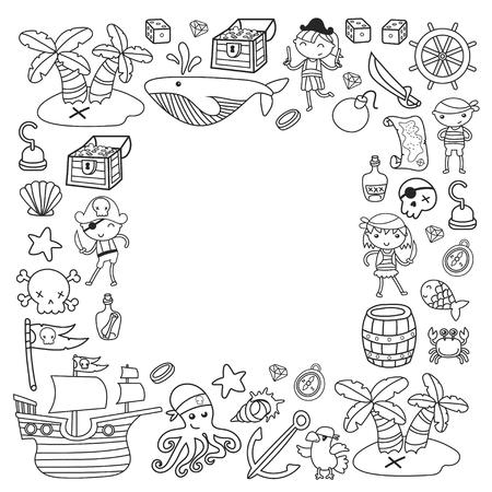 Enfants jouant aux pirates Ecole de garçons et filles, école maternelle, fête d'halloween Île au trésor, bateau pirate, crabe, perroquet Aventure, voyages et amusement Invitation d'anniversaire Banque d'images - 91623156