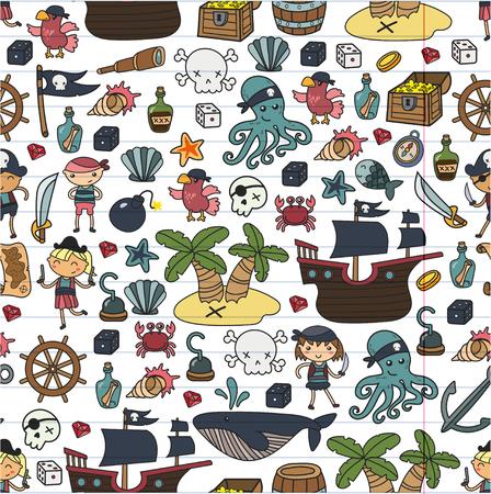 Enfants jouant aux pirates Ecole de garçons et filles, école maternelle, fête d'halloween Île au trésor, bateau pirate, crabe, perroquet Aventure, voyages et amusement Invitation d'anniversaire Banque d'images - 91623159