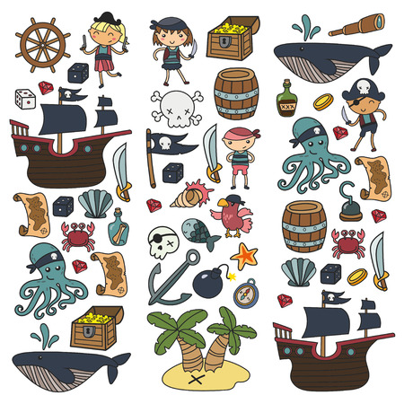 Children playing pirates Boys and girls Kindergarten, school, preschool, halloween party Treasure island, pirate ship, crab, parrot Adventure and travel and fun Birthday invitation Illustration