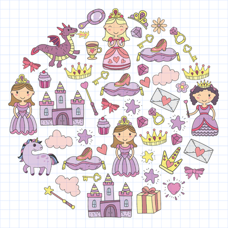 Set of colored  doodle princess and fantasy icon and  design element for invitation and greeting card. Kids sketch drawing pattern