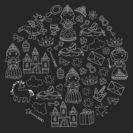 Set of doodle princess and fantasy icon and  design element for invitation and greeting card. White chalk  sketch drawing pattern  on a black background