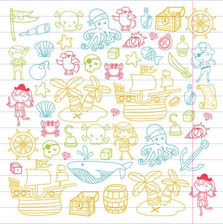 Peuterjongens en meisjes die piraten in een Halloween-partijthema spelen in een schateiland, cartoonillustratie op witte achtergrond voor de uitnodiging van de verjaardagskaart