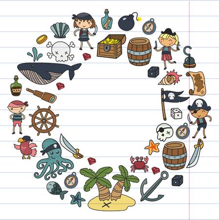 Préscolaire Garçons et filles jouant aux pirates sur le thème d'une fête d'Halloween dans une île au trésor, illustration de dessin animé sur fond blanc, rond, design pour invitation de carte d'anniversaire Banque d'images - 91733514