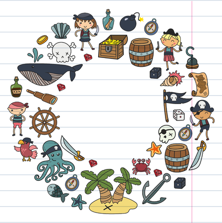 Preschool Boys and girls playing pirates in a Halloween party theme in a treasure island, cartoon illustration  on white background round design  for birthday card invitation Banco de Imagens - 91733514