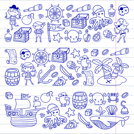Preschool Boys and girls playing pirates in a Halloween party theme in a treasure island, cartoon illustration  on white background  for birthday card invitation