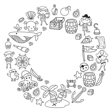 Kinderen spelen piraten Jongens en meisjes op school, voorschoolse, halloween party Schateiland, piratenschip, krab, papegaai Avontuur en reizen en plezier Verjaardag uitnodiging krans ontwerp