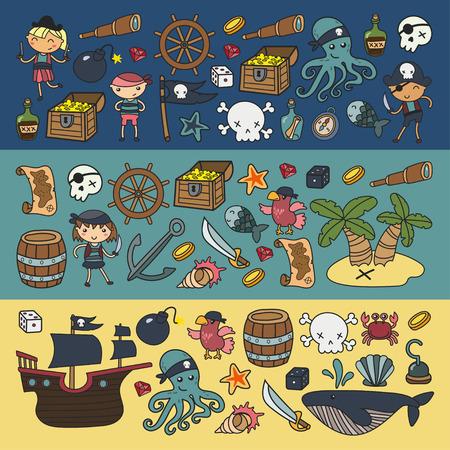 어린이 놀이 해적 소년과 소녀 학교, 유치원, 할로윈 파티 보물 섬, 해적선, 게, 앵무새 모험과 여행과 재미 생일 초대장 플랫 스타일 일러스트