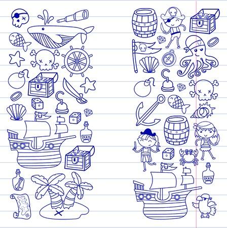 Kinderen spelen piraten Jongens en meisjes op school, voorschoolse, halloween party Schateiland, piratenschip, krab, papegaai Avontuur en reizen en plezier Verjaardag uitnodiging Stock Illustratie