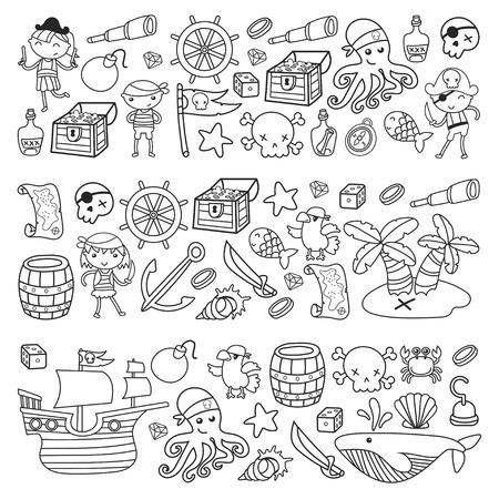 Enfants jouant aux pirates Garçons et filles à l'école, à l'école maternelle, à la fête d'halloween Île au trésor, au bateau pirate, au crabe, au perroquet Aventure, voyages et amusement Invitation d'anniversaire Banque d'images - 91624923