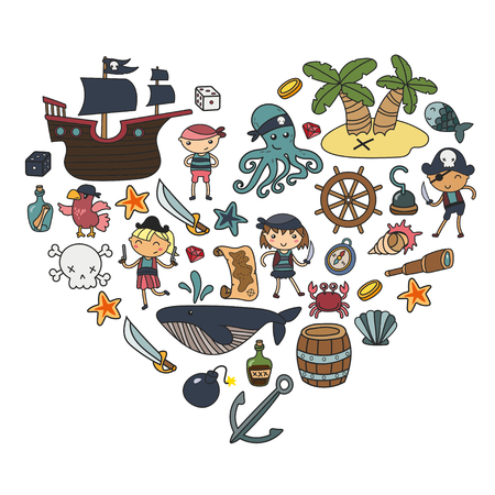 Children playing pirates Boys and girls in school, preschool, halloween party Treasure island, pirate ship, crab, parrot Adventure and travel and fun Birthday invitation heart shape