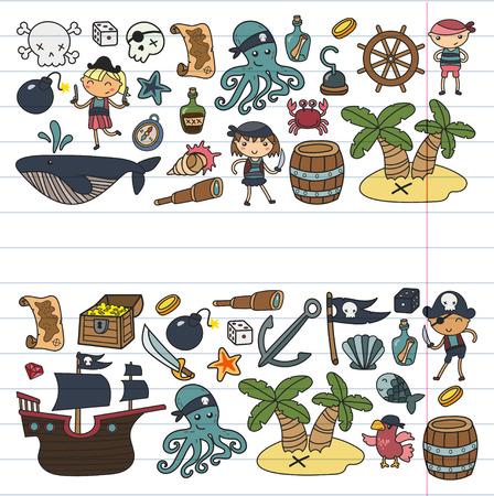 Enfants d'âge préscolaire garçons et filles lors d'une fête d'Halloween à l'île au Trésor, bateau pirate, crabe, perroquet Banque d'images - 91664618