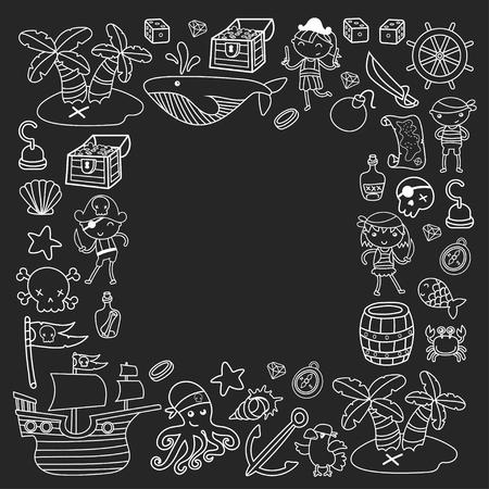 Voorschoolse jongens en meisjes op een Halloween-feest in Treasure Island, piratenschip, krab, papegaai Avontuur en reizen en leuke doodle stijlpatroon op zwarte achtergrond Stockfoto - 91664641
