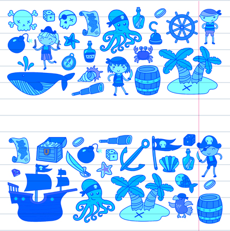 Preschool Boys and girls on a Halloween party in Treasure island, pirate ship, crab, parrot Adventure and travel and fun doodle style pattern background birthday card