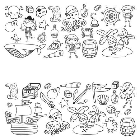 Voorschoolse jongens en meisjes op een Halloween-feest in Treasure Island, piratenschip, krab, papegaai Avontuur en reizen en leuke doodle stijl patroon achtergrond