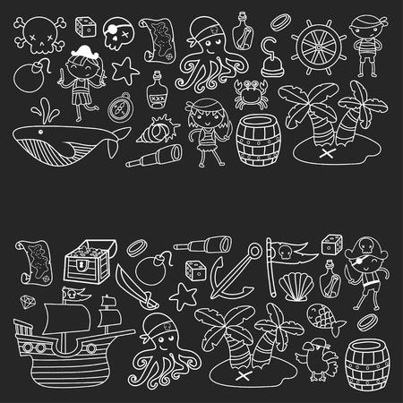 Enfants d'âge préscolaire garçons et filles lors d'une fête d'Halloween à l'île au Trésor, bateau pirate, crabe, perroquet Banque d'images - 91664756