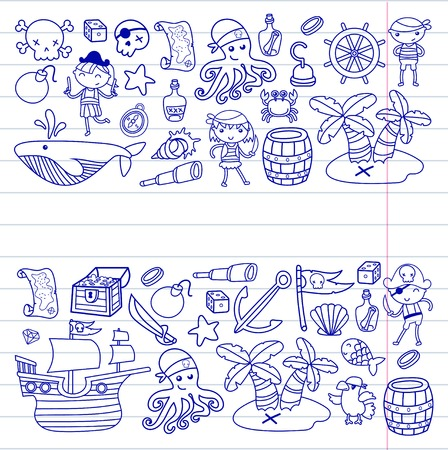 Preschool Boys and girls on a Halloween party in Treasure island, pirate ship, crab, parrot Adventure and travel and fun doodle style pattern background