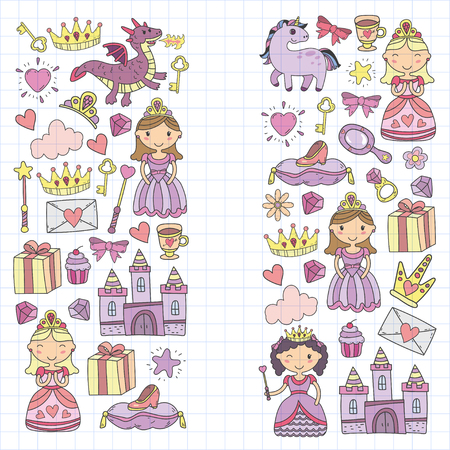 Set of doodle princess and fantasy icon and and design element for invitation and greeting card. Preschool Kids drawing pattern