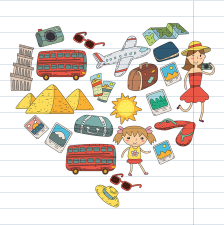 Doodle vector set Travel , vacations, adventure. Children with parents Preparing for your journey.  school summer vacation Kids drawing Illustration