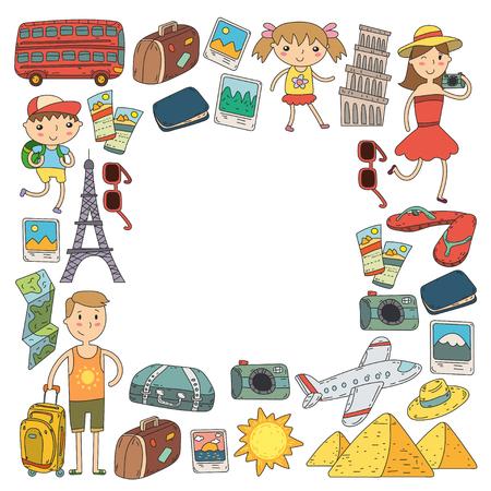 Doodle vector set Travel , vacations, adventure. Children with parents Preparing for your journey. Kindergarten, school summer vacation Kids drawing Ilustração