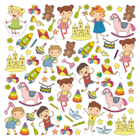 Kindergarten Nursery Preschool School education with children Doodle patterns Kids play and study Boys and girls kids drawing icons Space, adventure, exploration, imagination concept