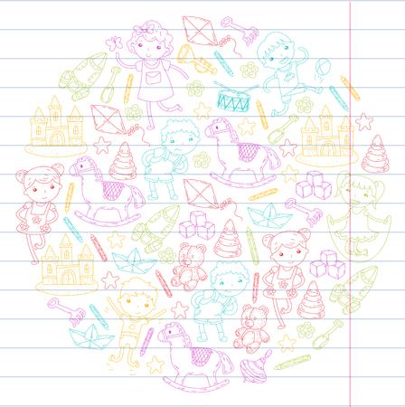 描画スタイルの創造的な教育概念幼稚園学校就学前保育知識想像ファンタジー子供  イラスト・ベクター素材