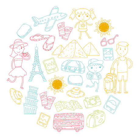Doodle vector set Travel , vacation, adventure. Children with parents Preparing for your journey.  school summer vacation Kids drawing
