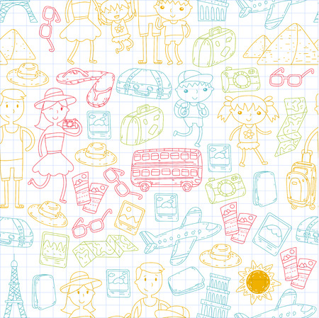 Doodle vector set Travel , vacation, adventure. Children with parents Preparing for your journeys. Kindergarten, school summer vacation Kids drawing