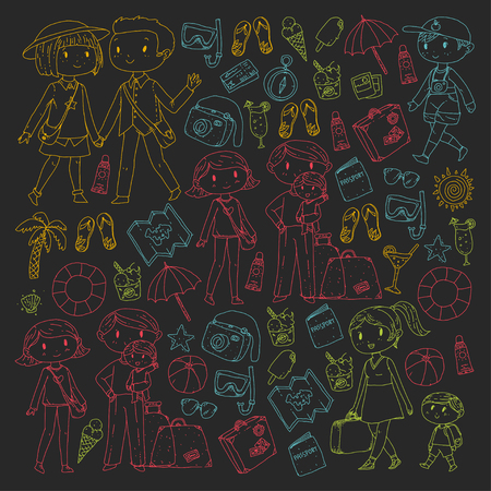 Family with children travel Mother, father, sister, brother. Boys and girls. Kindergarten, preschool children. School kids. Adventure, exploration and family vacation or holidays Illustration