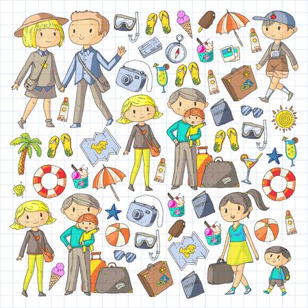 Familie mit Kindern reisen Mutter, Vater, Schwester, Bruder. Jungen und Mädchen. Vorschulkinder. Schulkinder. Abenteuer, Erkundung und Familienurlaub oder Ferien Standard-Bild - 91253261
