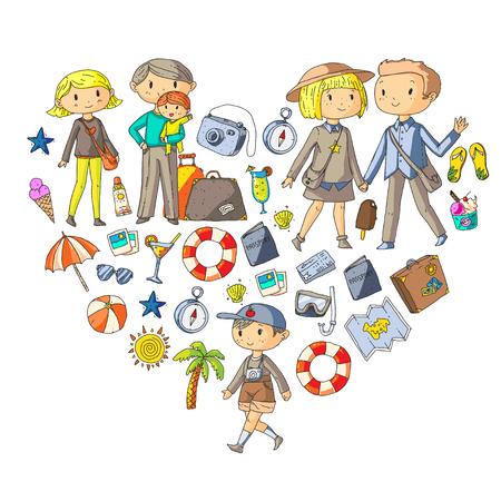 Familie mit Kindern reisen Mutter, Vater, Schwester, Bruder. Jungen und Mädchen. Vorschulkinder. Schulkinder. Abenteuer, Erkundung und Familienurlaub oder Ferien Standard-Bild - 91253705